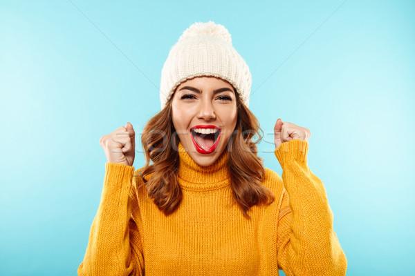Foto stock: Retrato · feliz · jovem · inverno · roupa