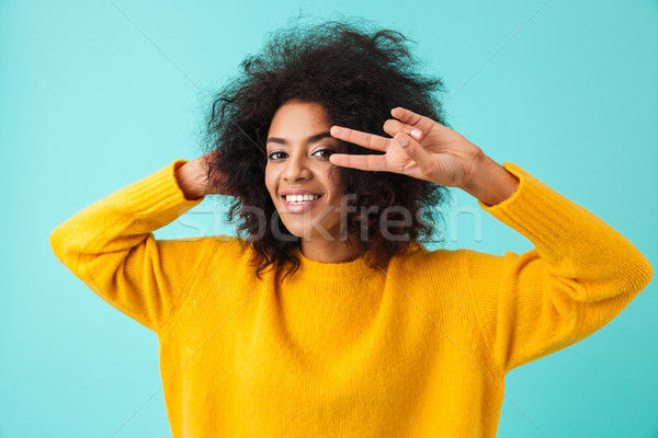 Colorful portrait of amazing woman with shaggy hair smiling and  Stock photo © deandrobot