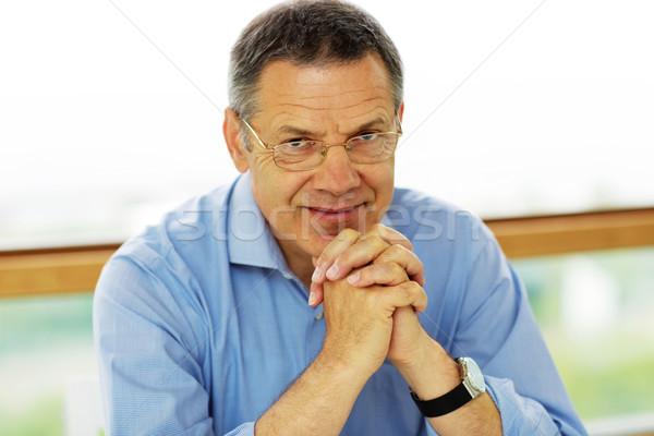 Portret człowiek siwe włosy patrząc szczęśliwy Zdjęcia stock © deandrobot