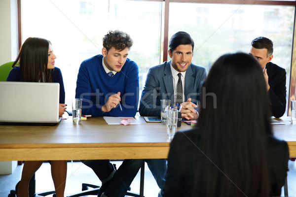 business, career and office concept - businesswoman at job interview in office Stock photo © deandrobot