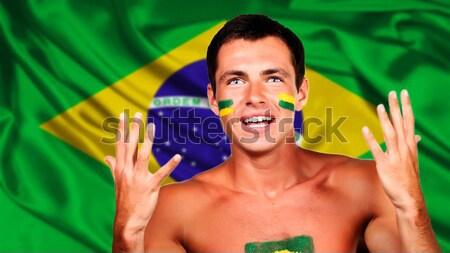 Szczęśliwy fan Brazylia banderą różny Zdjęcia stock © deandrobot