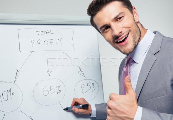 Happy businessman writing on a flipchart Stock photo © deandrobot