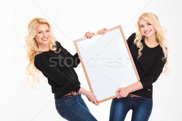 Uśmiechnięty siostry bliźnięta pokładzie portret Zdjęcia stock © deandrobot