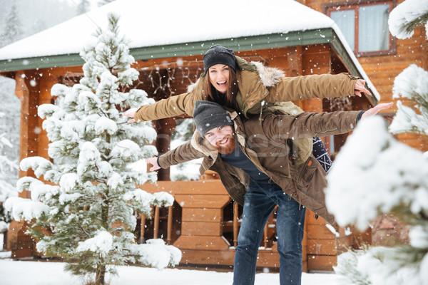 Wesoły brodaty człowiek sympatia zimą Zdjęcia stock © deandrobot