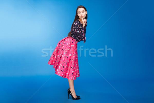 Belle femme doigt lèvres portrait Photo stock © deandrobot