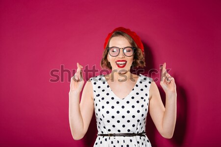 Shocked astonished young woman standing with mouth opened  Stock photo © deandrobot