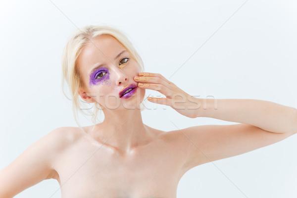 ストックフォト: 美 · 肖像 · 女性 · 創造 · 化粧 · 触れる