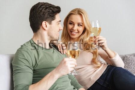 ストックフォト: 2 · 美しい · 女性 · 祝う · 結婚式 · シャンパン