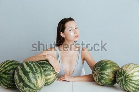 şehvetli kadın mayo ayakta tablo genç kadın Stok fotoğraf © deandrobot