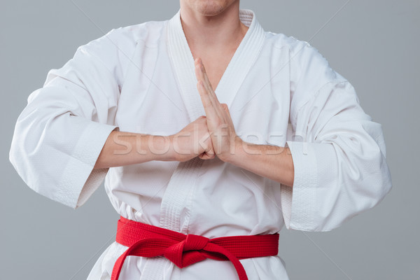 Kép sportoló kimonó gesztikulál kezek fiatal Stock fotó © deandrobot