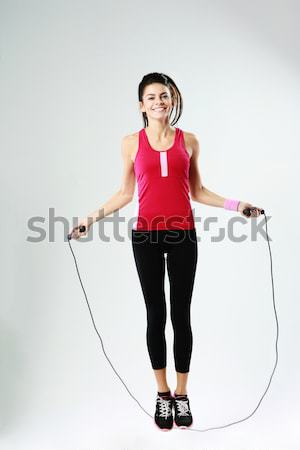Gritando jóvenes boxeador mujer imagen pie Foto stock © deandrobot