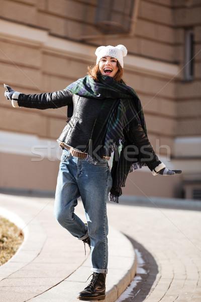 Femme marche ville automne joli Photo stock © deandrobot