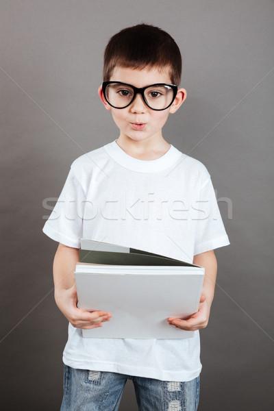 мало мальчика очки журнала Постоянный Сток-фото © deandrobot