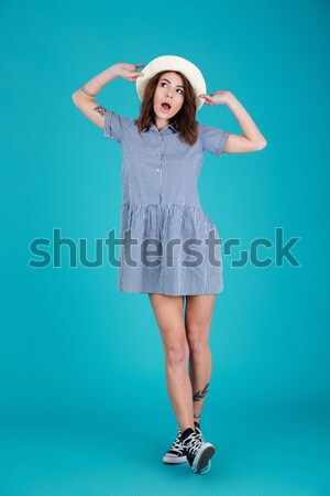 Vertical image of woman in beachwear Stock photo © deandrobot