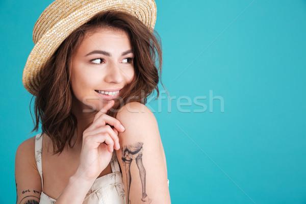 Portret jong meisje strohoed Stockfoto © deandrobot