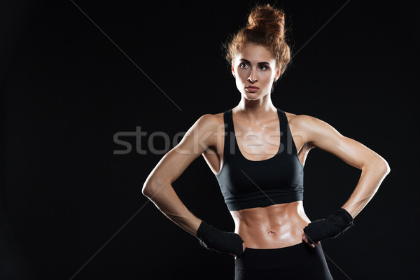 серьезный женщины истребитель оружия бедра Сток-фото © deandrobot