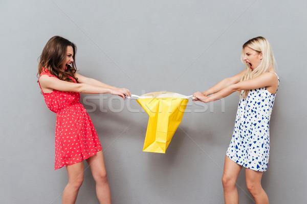 Due donne condivisione pacchetto due bella donne Foto d'archivio © deandrobot