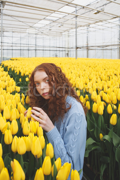Girl sitting between two tables with flowers Stock photo © deandrobot