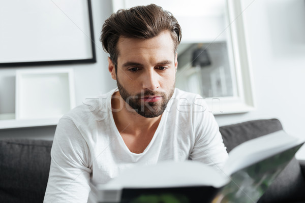 Concentrated man sitting on sofa reading book Stock photo © deandrobot