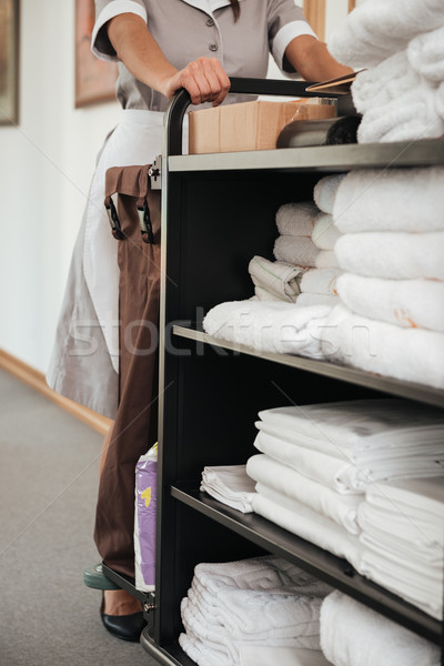 Cropped image of a maid with housekeeping cart Stock photo © deandrobot