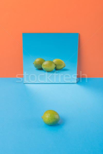 Kalk Blauw tabel geïsoleerd oranje afbeelding Stockfoto © deandrobot