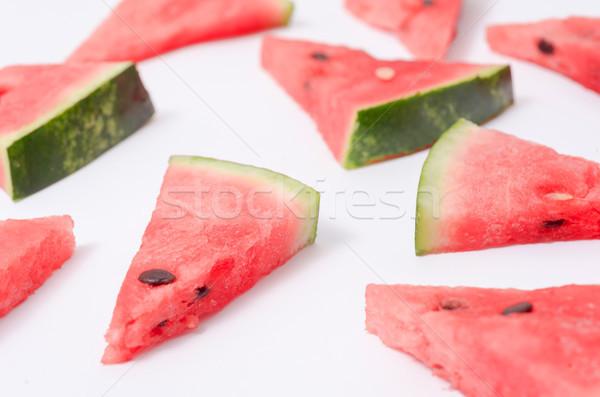 Peças melancia branco diferente triângulo vermelho Foto stock © deandrobot