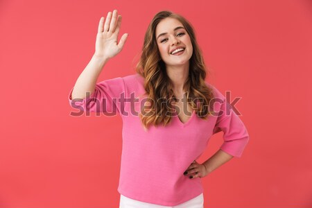 Stock photo: Close-up photo of smiling young woman dressed like princess show