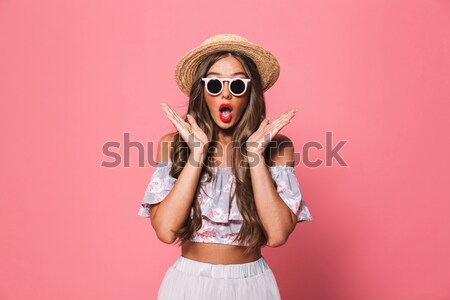 Podniecony pani okulary stałego odizolowany Zdjęcia stock © deandrobot