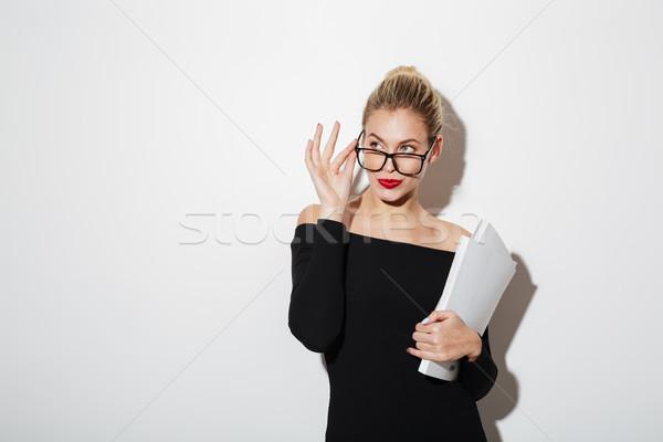 沈痛 ビジネス女性 ドレス 眼鏡 文書 ストックフォト © deandrobot