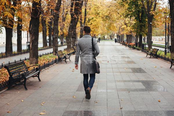 肖像 戻る 小さな スタイリッシュ 男 コート ストックフォト © deandrobot