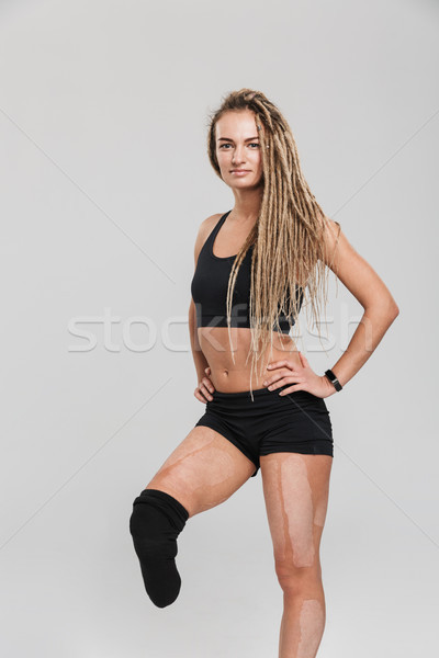 Beautiful healthy young disabled sportswoman Stock photo © deandrobot