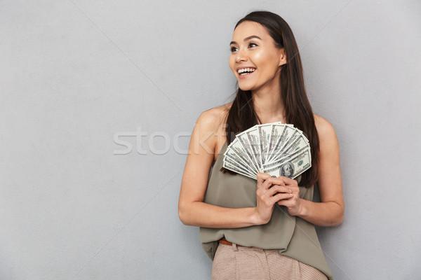 Portrait souriant asian femme argent Photo stock © deandrobot
