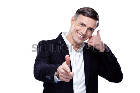 ビジネスマン 電話 私に ジェスチャー ポイント カメラ ストックフォト © deandrobot