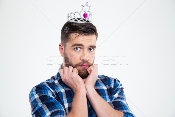 Portrait of a feminine man in queen crown Stock photo © deandrobot