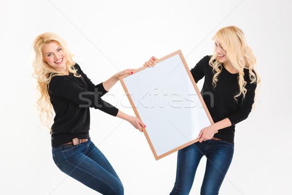 Twee charmant blond zusters tweelingen Stockfoto © deandrobot