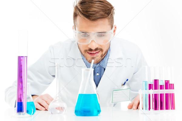 Férfi áramló vegyszerek izolált fehér orvosi Stock fotó © deandrobot