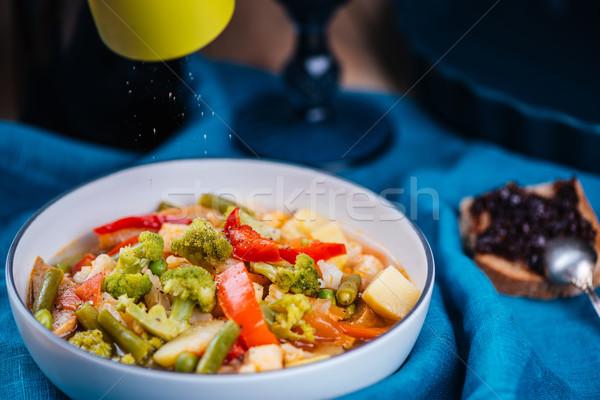 Stok fotoğraf: Taze · vejetaryen · çorba · beyaz · çanak · mavi