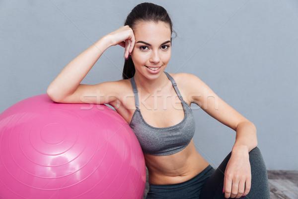 Stockfoto: Portret · gezonde · fitness · meisje · grijs