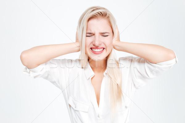 Fiatal üzletasszony fülek kiált csukott szemmel fehér Stock fotó © deandrobot