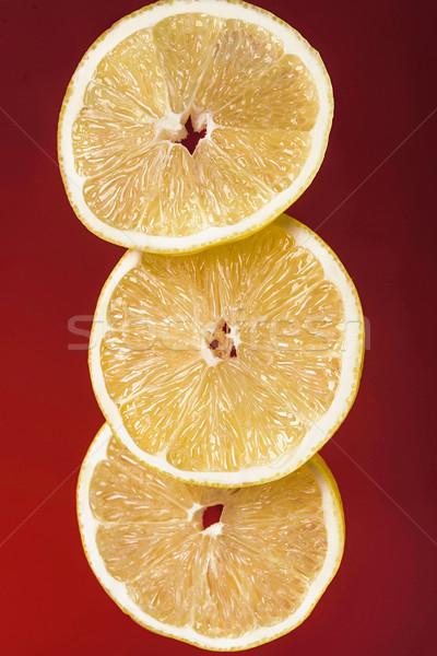 Trzy świeże soczysty cytryny plastry odizolowany Zdjęcia stock © deandrobot