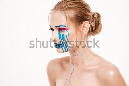 Mooie vrouw Blauw tranen naar beneden te kijken kleur make-up Stockfoto © deandrobot