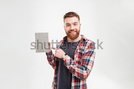 Szakállas férfi póló pénz pénztárca boldog Stock fotó © deandrobot