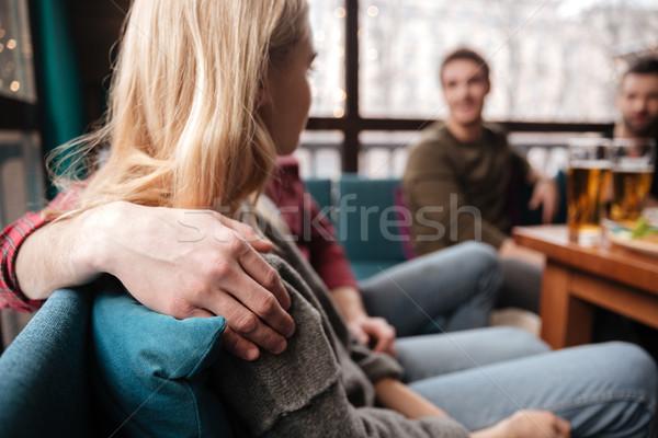 Stockfoto: Vrolijk · liefhebbend · paar · vergadering · cafe · foto