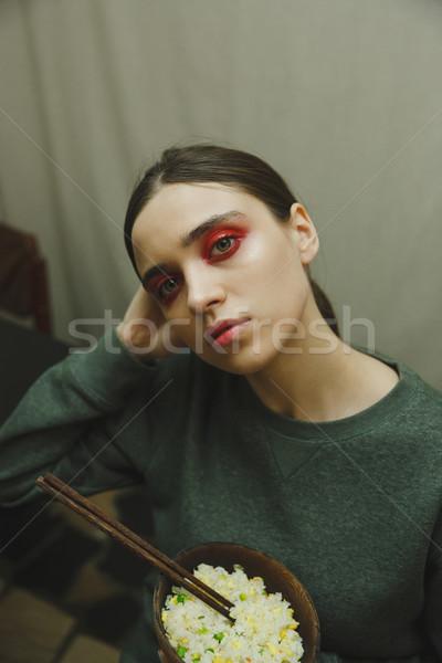 Dikey fotoğraf gizem kadın plaka Stok fotoğraf © deandrobot