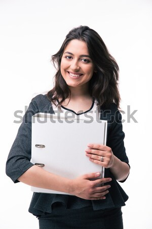 Smiling young african woman showing display of tablet computer. Stock photo © deandrobot