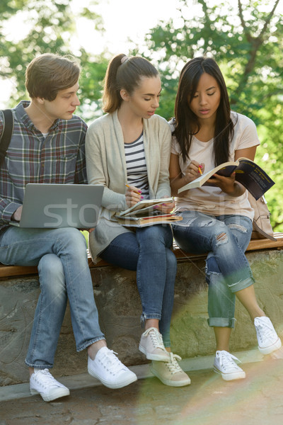 Multiethnic group of young concentrated students Stock photo © deandrobot