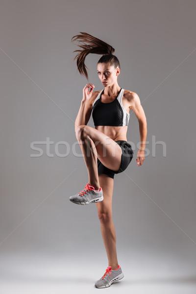 Stock fotó: Teljes · alakos · portré · koncentrált · fitt · sportoló · láb