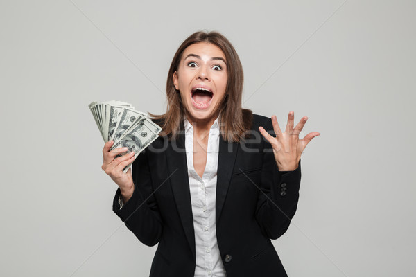 Portrait of an excited agitated businesswoman Stock photo © deandrobot