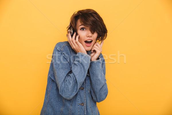 Portret vrolijk opgewonden meisje denim jas Stockfoto © deandrobot