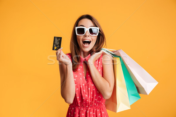 Stockfoto: Gelukkig · brunette · vrouw · zonnebril